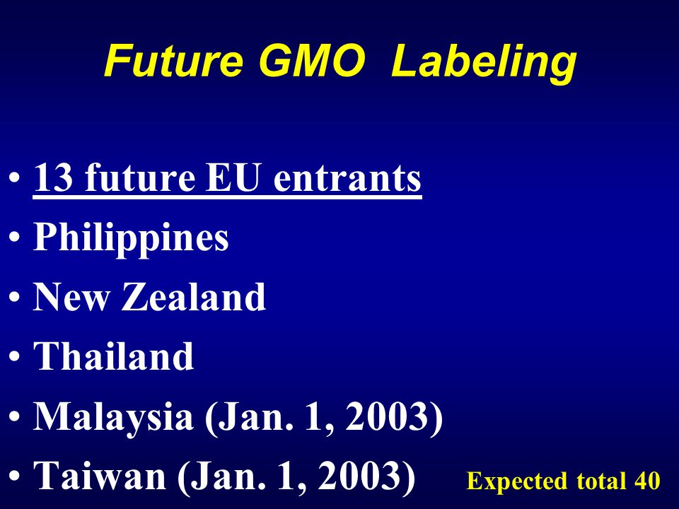 Future GMO Labeling 13 future EU entrants Philippines New Zealand Thailand Malaysia (Jan.