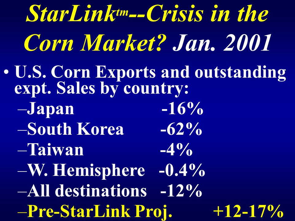 StarLink tm --Crisis in the Corn Market. Jan. 2001 U.S.