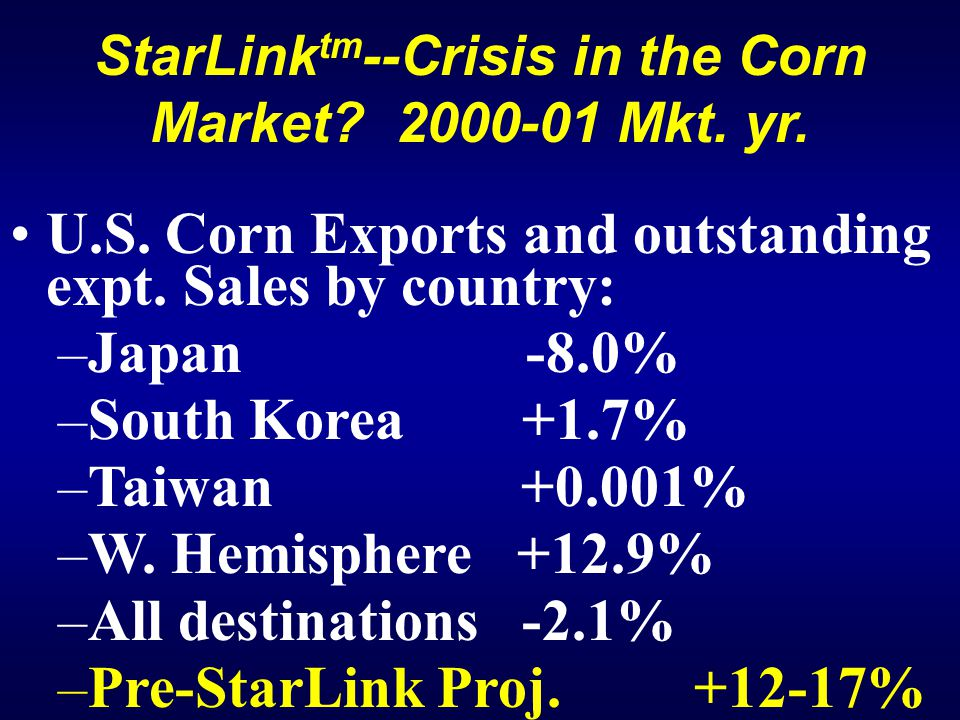 StarLink tm --Crisis in the Corn Market. 2000-01 Mkt.
