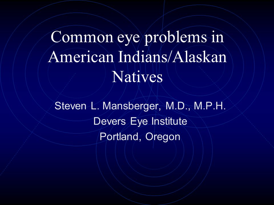Summary Vision problems are the second leading cause of impairment in AI/AN Uncorrected refractive error, cataract, and retinal diseases were the most common causes of visual impairment A rare form of glaucoma was more common in AI/AN Differences in eye problems occur even between AI/AN in different regions Research to determine the factors related to disparities in eye problems in AI/AN are needed