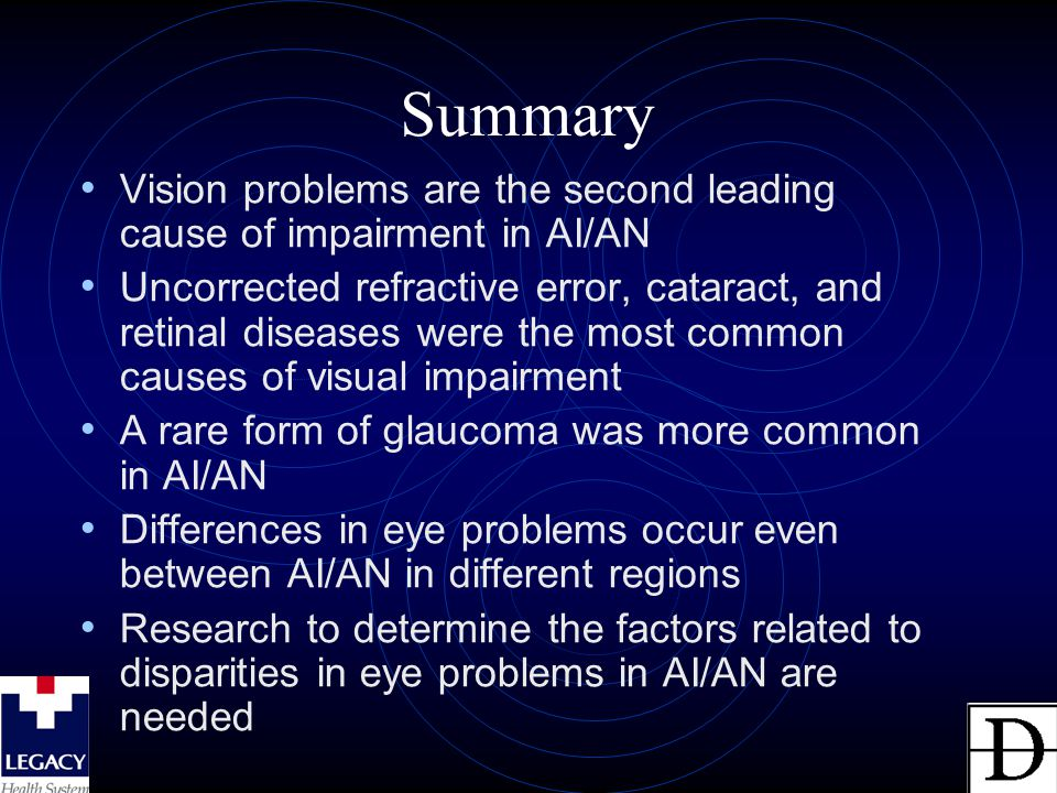 Summary Vision problems are the second leading cause of impairment in AI/AN Uncorrected refractive error, cataract, and retinal diseases were the most
