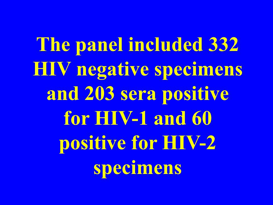 The panel included 332 HIV negative specimens and 203 sera positive for HIV-1 and 60 positive for HIV-2 specimens