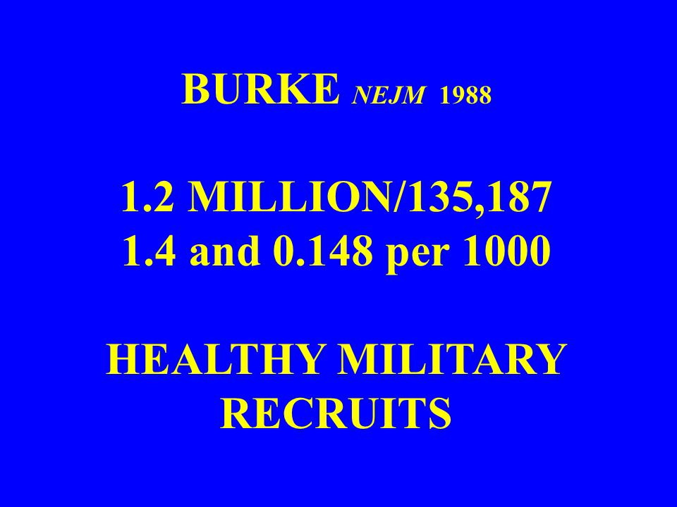 BURKE NEJM 1988 1.2 MILLION/135,187 1.4 and 0.148 per 1000 HEALTHY MILITARY RECRUITS
