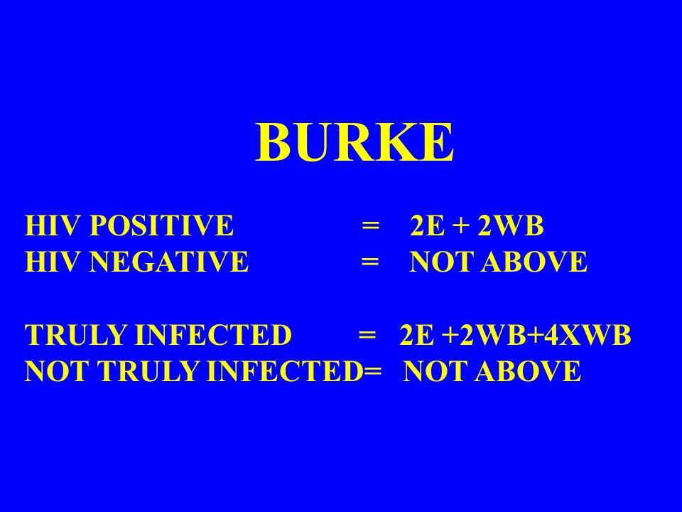 BURKE HIV POSITIVE = 2E + 2WB HIV NEGATIVE = NOT ABOVE TRULY INFECTED = 2E +2WB+4XWB NOT TRULY INFECTED= NOT ABOVE