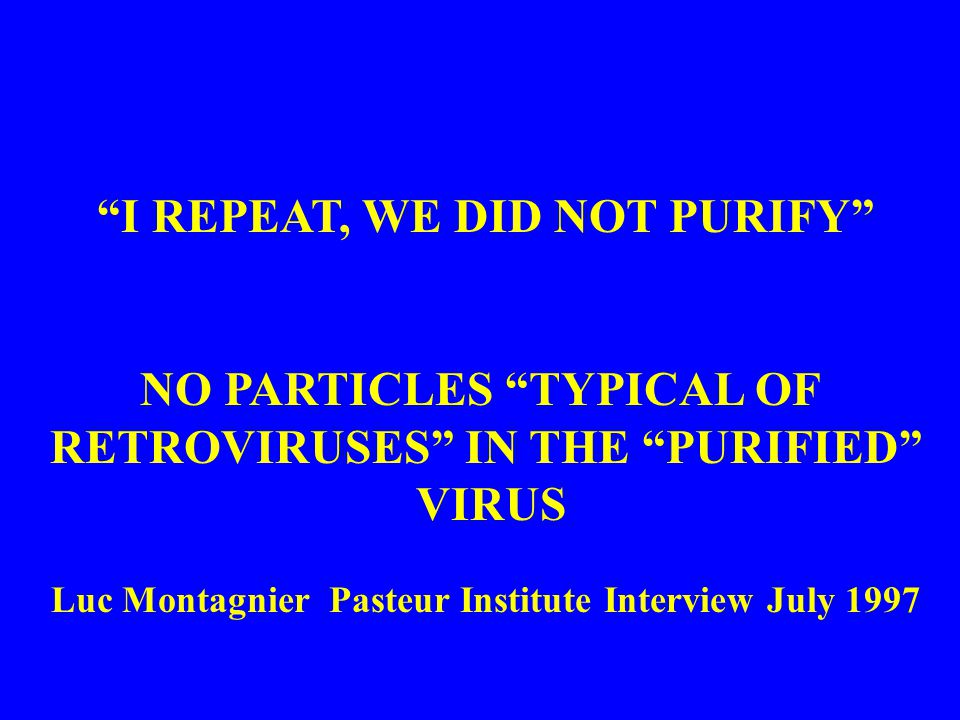 I REPEAT, WE DID NOT PURIFY NO PARTICLES TYPICAL OF RETROVIRUSES IN THE PURIFIED VIRUS Luc Montagnier Pasteur Institute Interview July 1997