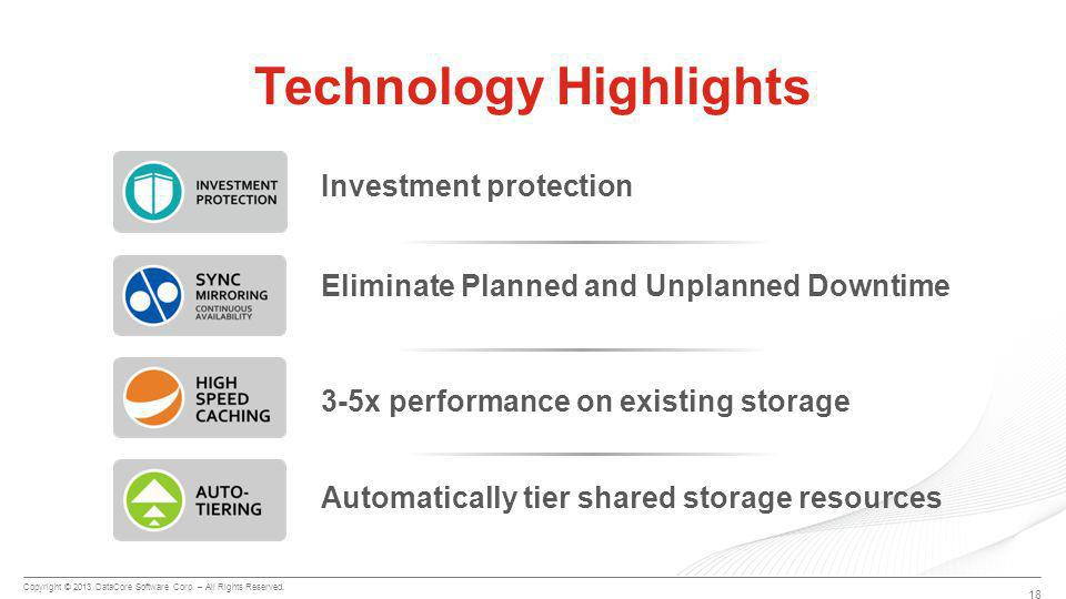 Copyright © 2013 DataCore Software Corp. – All Rights Reserved. 18 Technology Highlights Automatically tier shared storage resources 3-5x performance