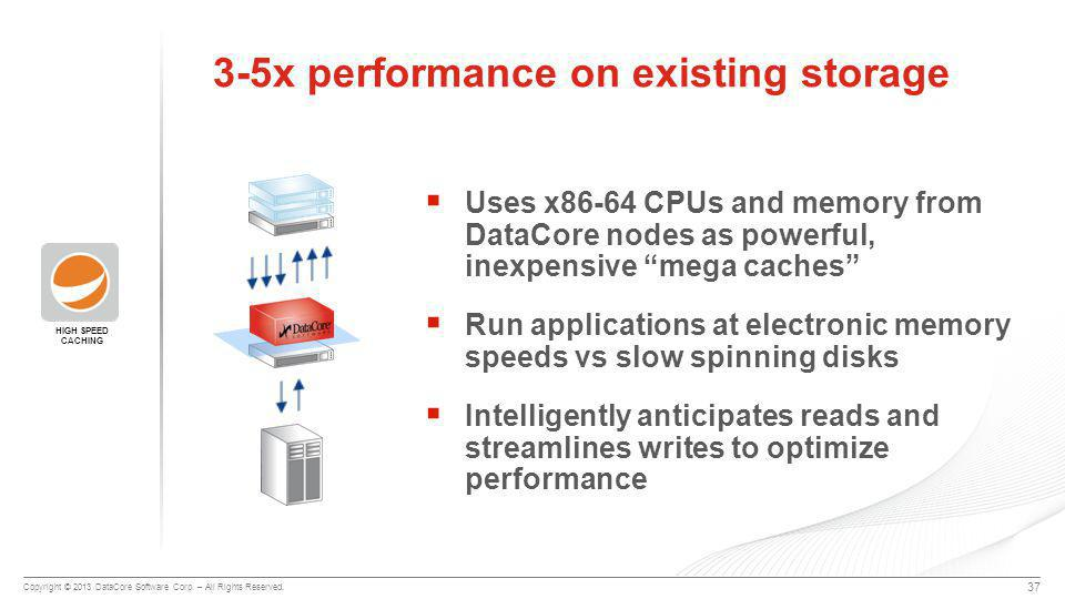 """Copyright © 2013 DataCore Software Corp. – All Rights Reserved.  Uses x86-64 CPUs and memory from DataCore nodes as powerful, inexpensive """"mega cache"""