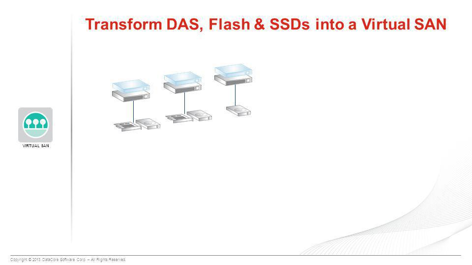 Copyright © 2013 DataCore Software Corp. – All Rights Reserved. VIRTUAL SAN Transform DAS, Flash & SSDs into a Virtual SAN