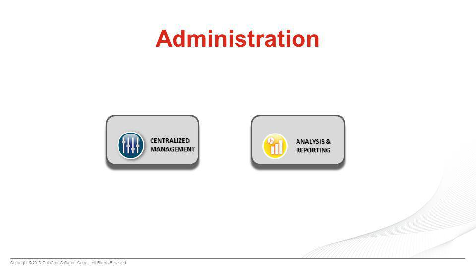 Copyright © 2013 DataCore Software Corp. – All Rights Reserved. Administration CENTRALIZED MANAGEMENT ANALYSIS & REPORTING