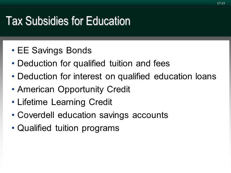17-15 Tax Subsidies for Education EE Savings Bonds Deduction for qualified tuition and fees Deduction for interest on qualified education loans American Opportunity Credit Lifetime Learning Credit Coverdell education savings accounts Qualified tuition programs