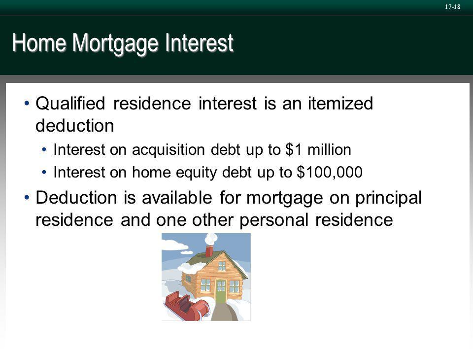 17-18 Home Mortgage Interest Qualified residence interest is an itemized deduction Interest on acquisition debt up to $1 million Interest on home equity debt up to $100,000 Deduction is available for mortgage on principal residence and one other personal residence
