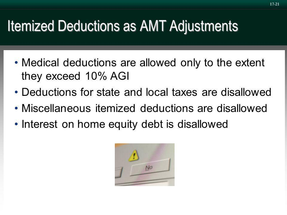 17-21 Itemized Deductions as AMT Adjustments Medical deductions are allowed only to the extent they exceed 10% AGI Deductions for state and local taxes are disallowed Miscellaneous itemized deductions are disallowed Interest on home equity debt is disallowed
