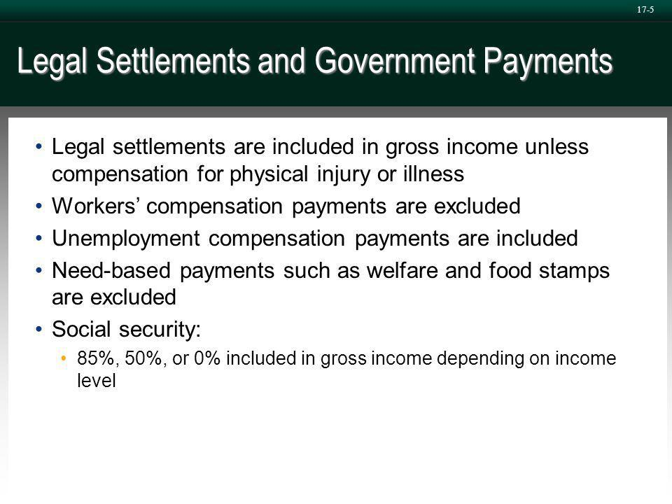 17-5 Legal Settlements and Government Payments Legal settlements are included in gross income unless compensation for physical injury or illness Workers' compensation payments are excluded Unemployment compensation payments are included Need-based payments such as welfare and food stamps are excluded Social security: 85%, 50%, or 0% included in gross income depending on income level