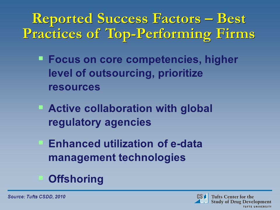 Reported Success Factors – Best Practices of Top-Performing Firms  Focus on core competencies, higher level of outsourcing, prioritize resources  Active collaboration with global regulatory agencies  Enhanced utilization of e-data management technologies  Offshoring Source: Tufts CSDD, 2010