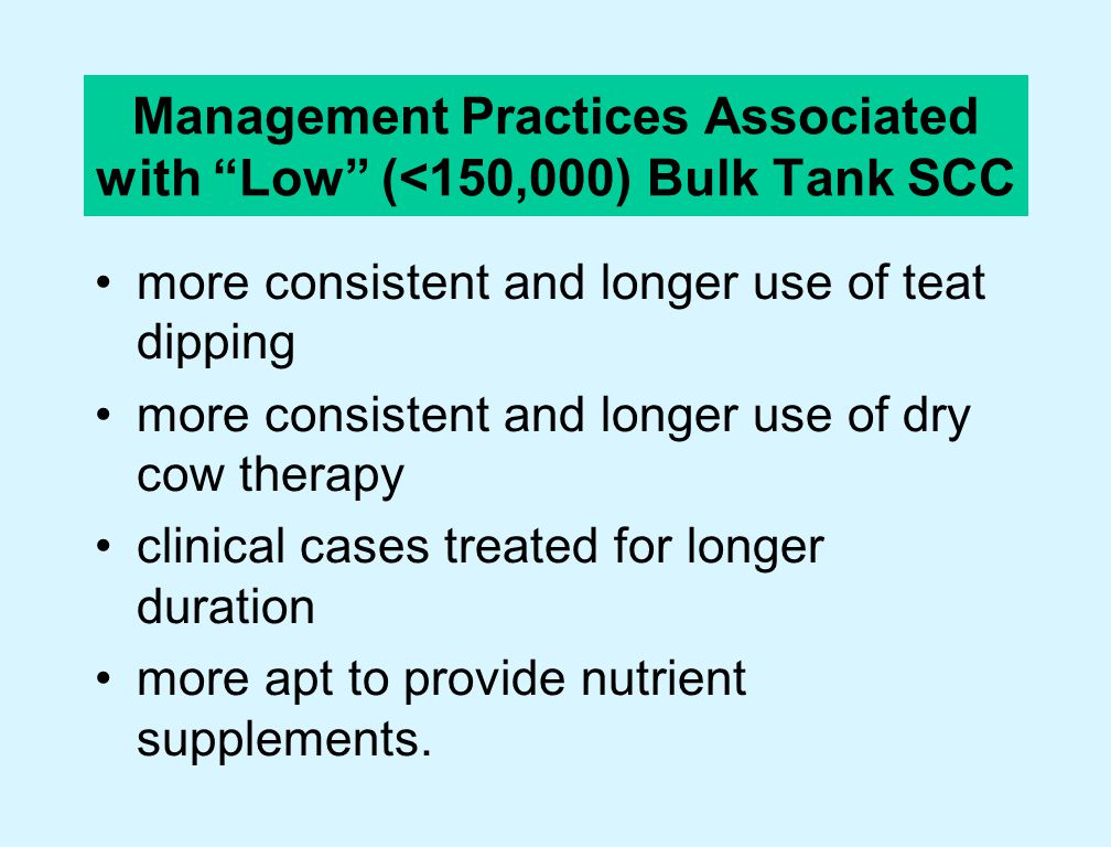 Management Practices Associated with Low (<150,000) Bulk Tank SCC cleaner free stalls use more bedding cleaner drinking cups remove udder hair dry cows checked for mastitis daily cleaner calving pens fresh cows kept out of bulk tank longer.