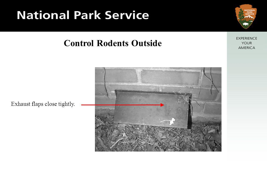 Exhaust flaps close tightly. Control Rodents Outside