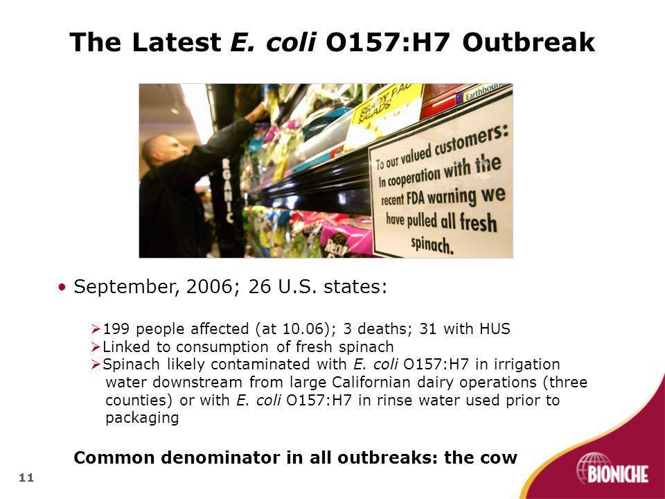 11 The Latest E. coli O157:H7 Outbreak September, 2006; 26 U.S.