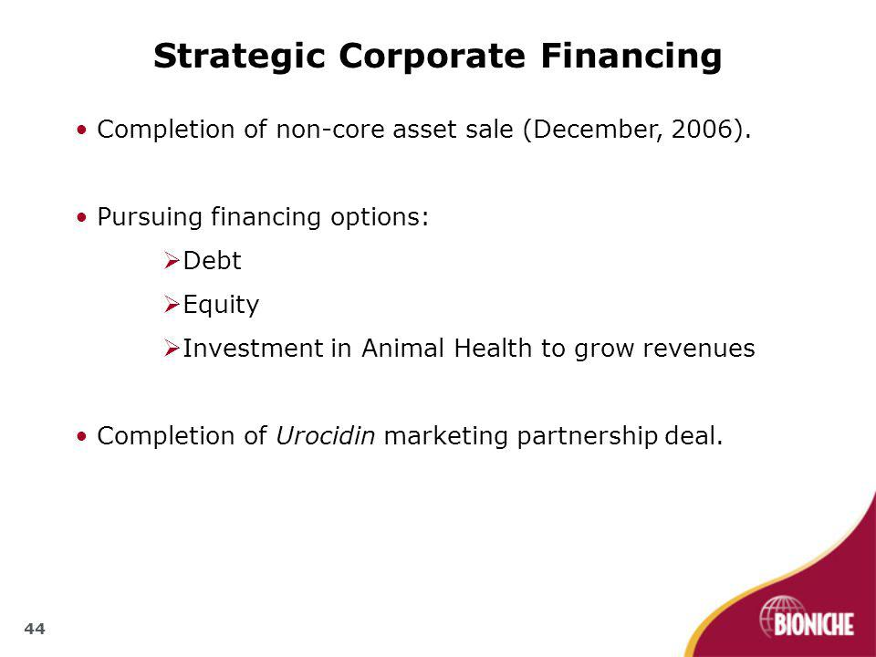 44 Strategic Corporate Financing Completion of non-core asset sale (December, 2006).
