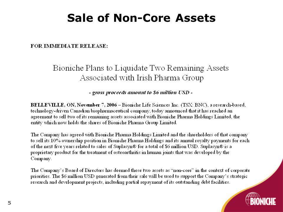 Sale of Non-Core Assets 5