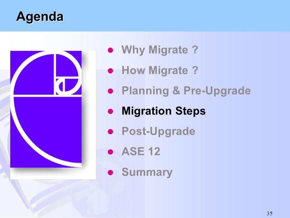 35 Agenda l Why Migrate ? l How Migrate ? l Planning & Pre-Upgrade l Migration Steps l Post-Upgrade l ASE 12 l Summary