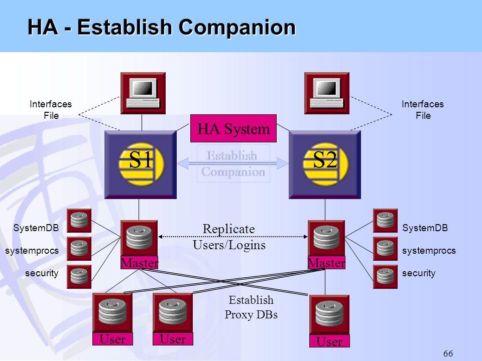 66 SystemDB systemprocs security Interfaces File Master User S1 Establish Companion SystemDB systemprocs security Master S2 Replicate Users/Logins Est