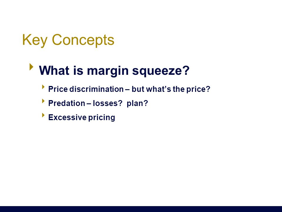 Key Concepts  What is margin squeeze.  Price discrimination – but what's the price.