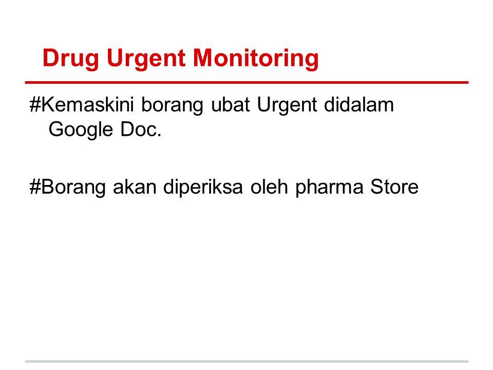 Drug Urgent Monitoring #Kemaskini borang ubat Urgent didalam Google Doc. #Borang akan diperiksa oleh pharma Store