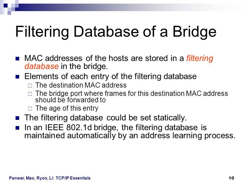 Panwar, Mao, Ryoo, Li: TCP/IP Essentials 10 Filtering Database of a Bridge MAC addresses of the hosts are stored in a filtering database in the bridge