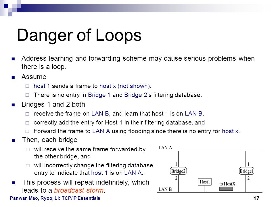 Panwar, Mao, Ryoo, Li: TCP/IP Essentials 17 Danger of Loops Address learning and forwarding scheme may cause serious problems when there is a loop. As