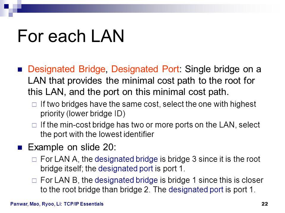 Panwar, Mao, Ryoo, Li: TCP/IP Essentials 22 For each LAN Designated Bridge, Designated Port: Single bridge on a LAN that provides the minimal cost pat