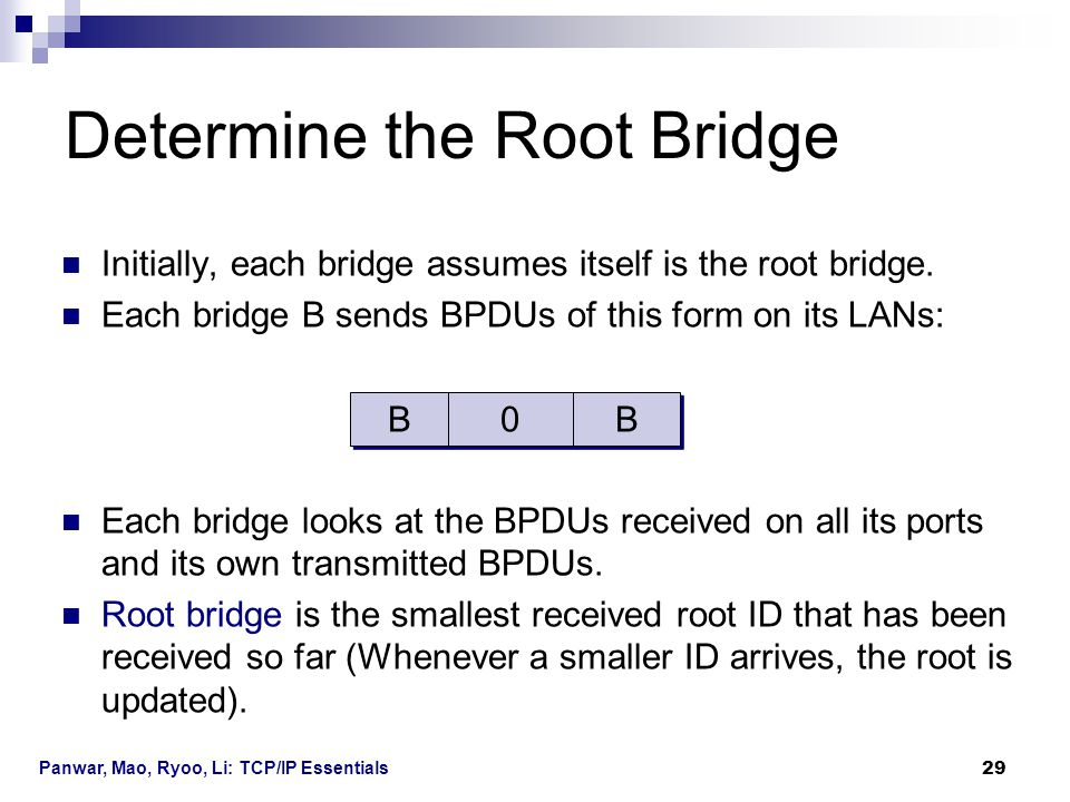 Panwar, Mao, Ryoo, Li: TCP/IP Essentials 29 Initially, each bridge assumes itself is the root bridge. Each bridge B sends BPDUs of this form on its LA