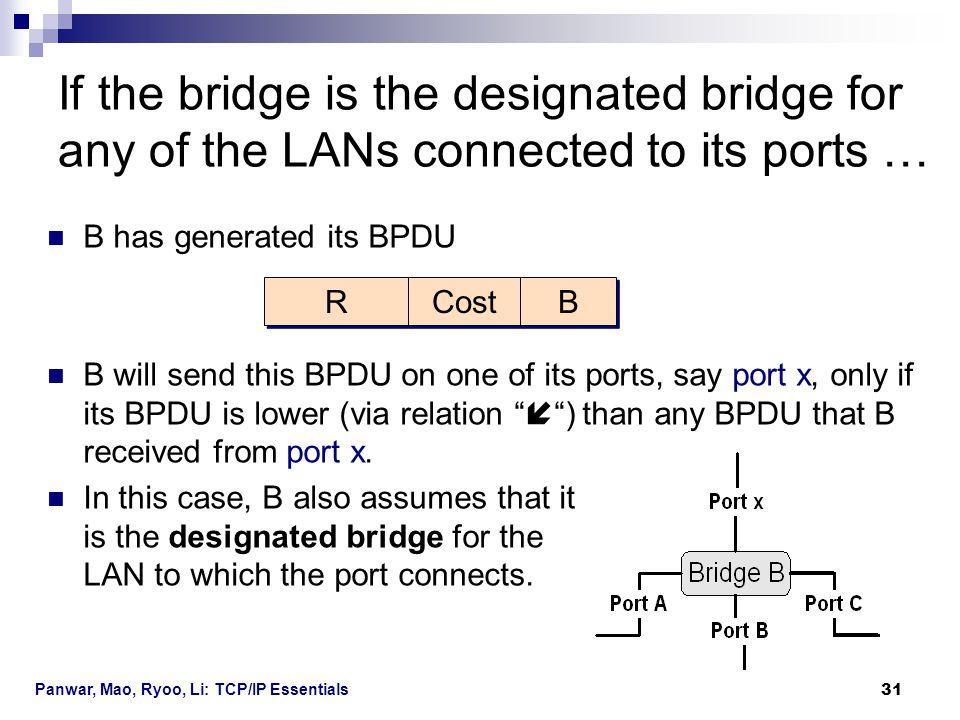 Panwar, Mao, Ryoo, Li: TCP/IP Essentials 31 B has generated its BPDU B will send this BPDU on one of its ports, say port x, only if its BPDU is lower