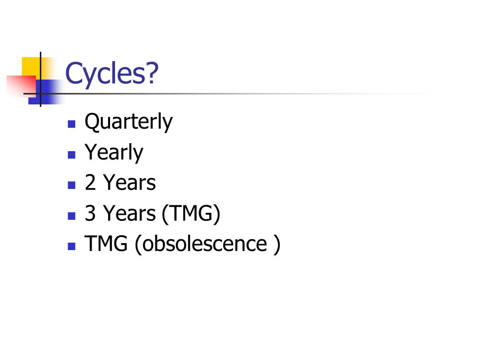 Cycles? Quarterly Yearly 2 Years 3 Years (TMG) TMG (obsolescence )
