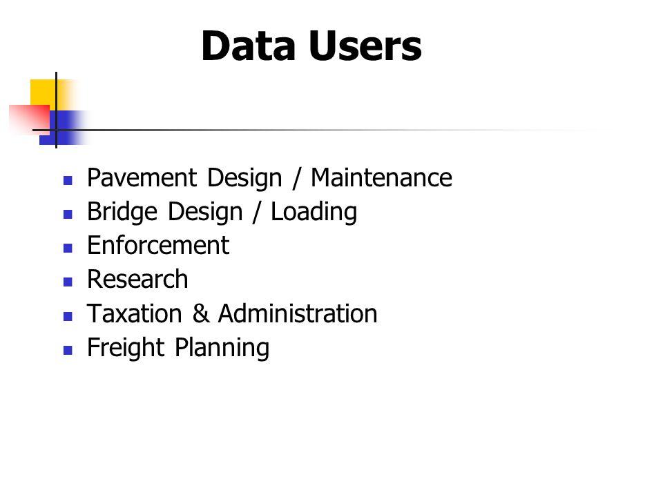 Pavement Design / Maintenance Bridge Design / Loading Enforcement Research Taxation & Administration Freight Planning Data Users