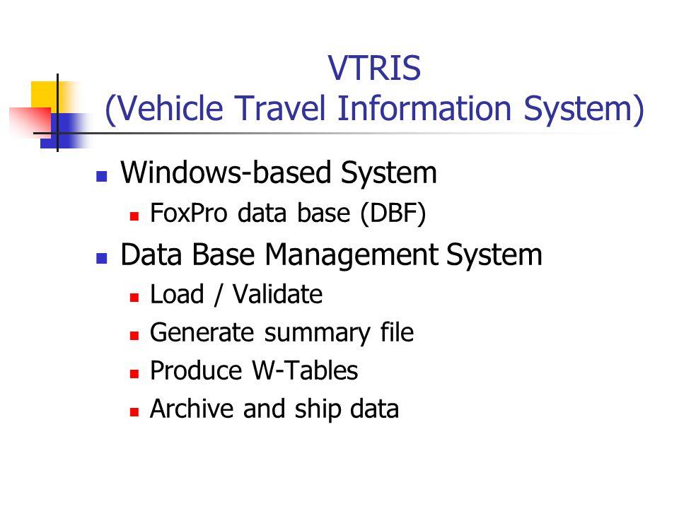 VTRIS (Vehicle Travel Information System) Windows-based System FoxPro data base (DBF) Data Base Management System Load / Validate Generate summary fil