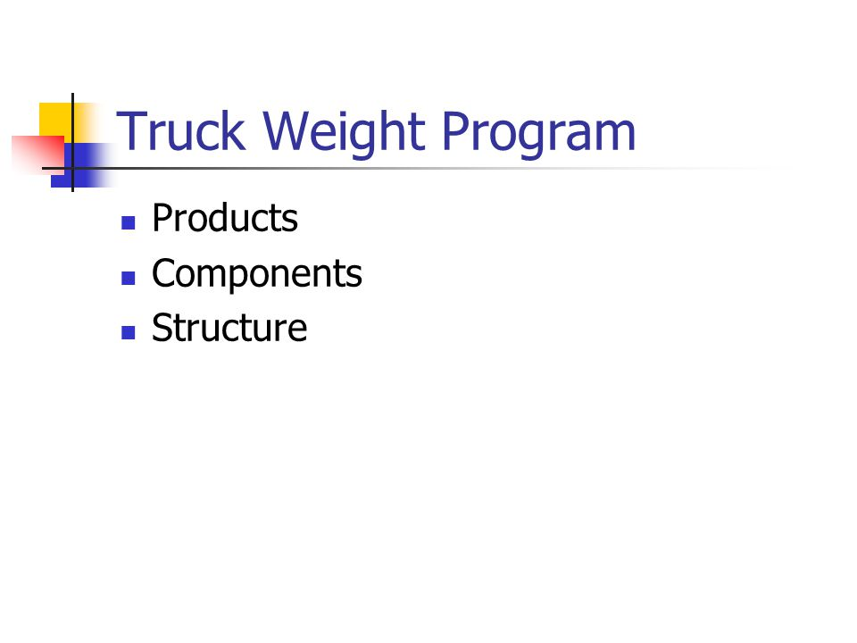 Truck Weight Program Products Components Structure