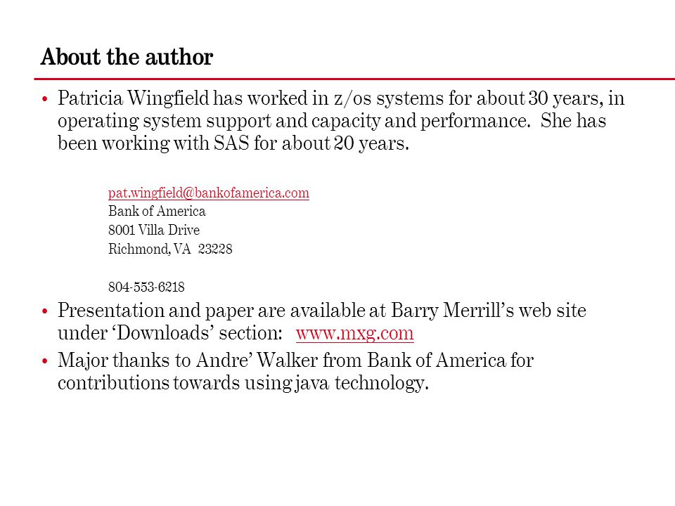 About the author Patricia Wingfield has worked in z/os systems for about 30 years, in operating system support and capacity and performance. She has b