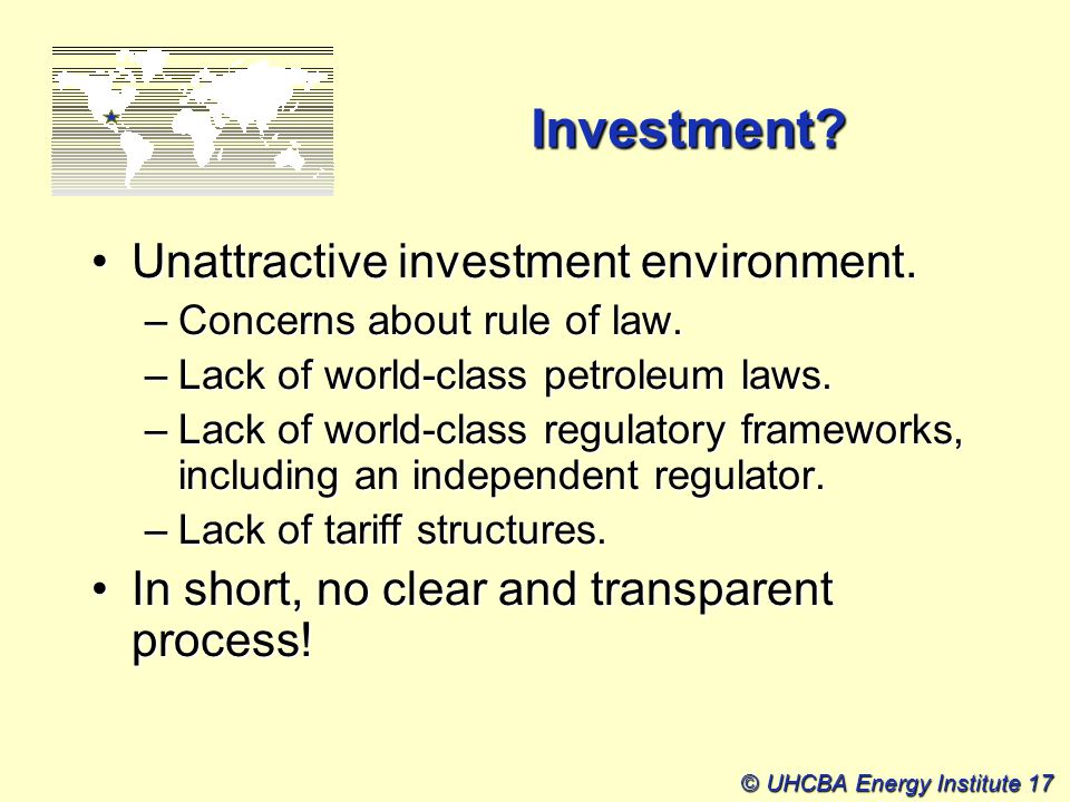 © UHCBA Energy Institute 17 Investment.