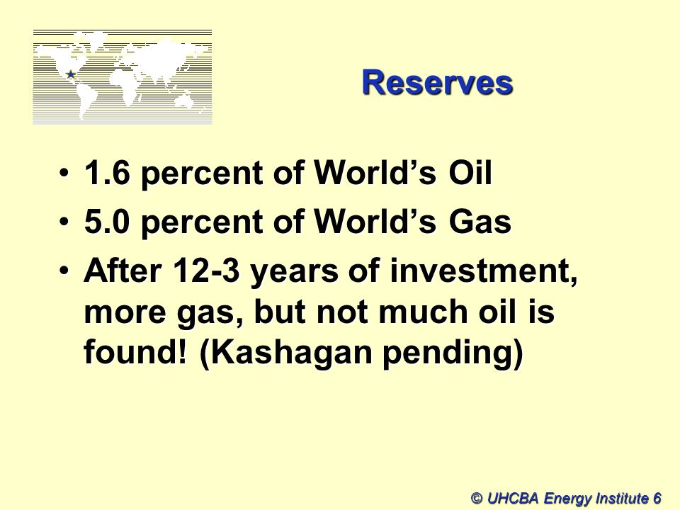© UHCBA Energy Institute 6 Reserves 1.6 percent of World's Oil1.6 percent of World's Oil 5.0 percent of World's Gas5.0 percent of World's Gas After 12-3 years of investment, more gas, but not much oil is found.