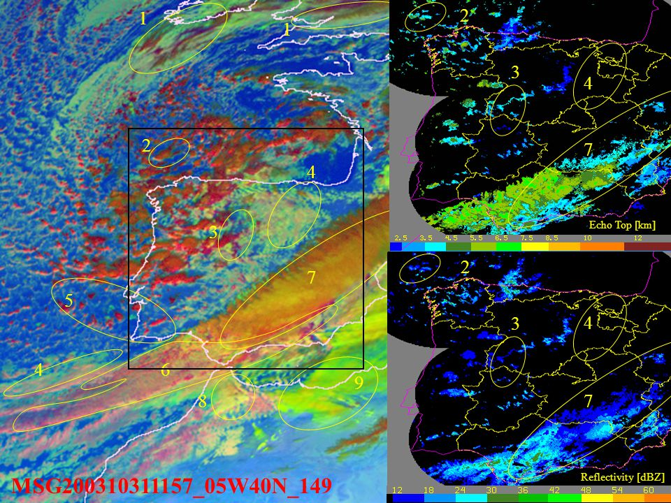 MSG200310311157_05W40N_149 1 1 4 6 7 8 9 4 5 3 1. Multilayer mature cloud.
