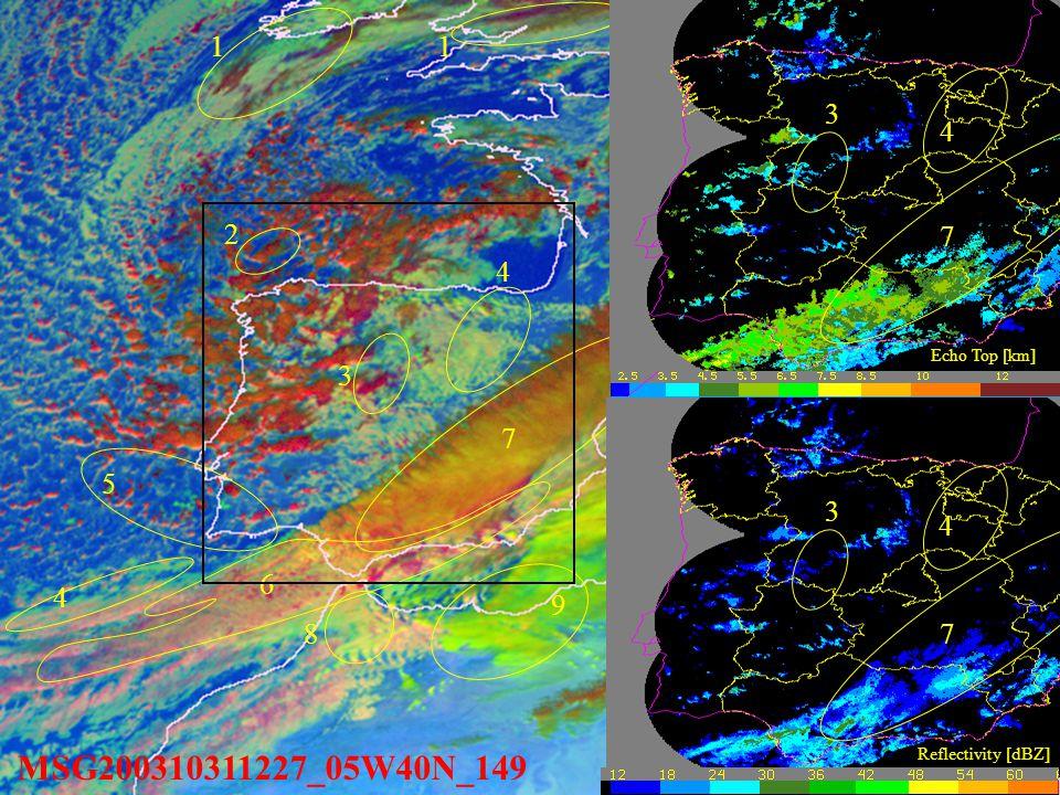 MSG200310311227_05W40N_149 11 4 6 7 8 9 4 5 3 1. Multilayer mature cloud.