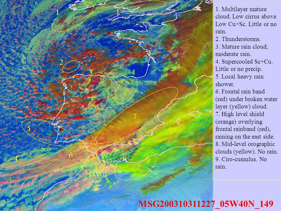 MSG200310311227_05W40N_149 11 34 6 7 8 9 4 5 3 1. Multilayer mature cloud.