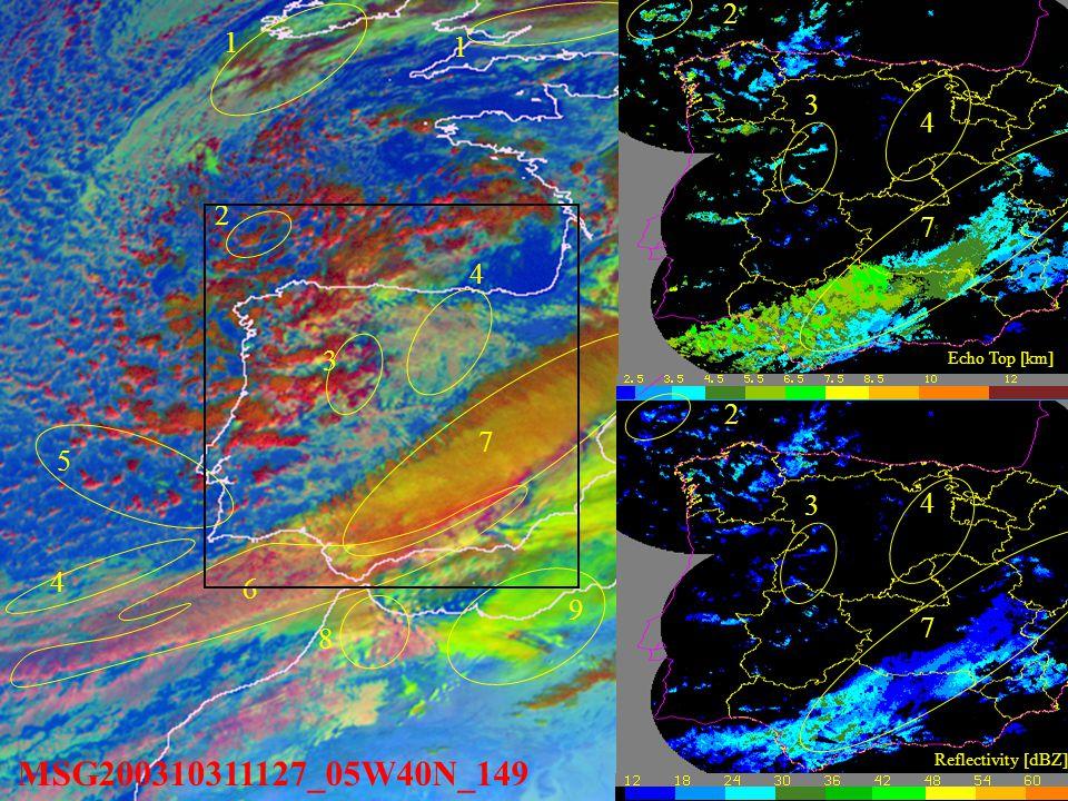 MSG200310311127_05W40N_149 1 1 3 4 5 6 7 8 9 4 1. Multilayer mature cloud.
