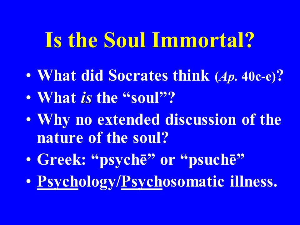 """Is the Soul Immortal? What did Socrates think (Ap. 40c-e) ? isWhat is the """"soul""""? Why no extended discussion of the nature of the soul? Greek: """"psychē"""