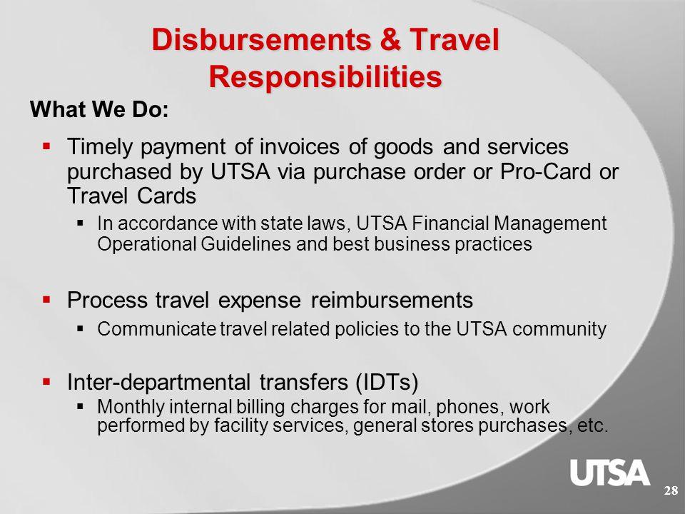 Disbursements & Travel Services 27