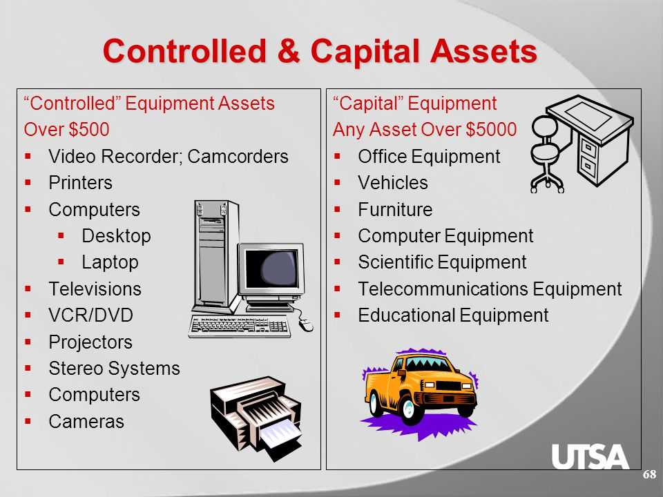 Inventory Department  Items to be on the official inventory are either capital assets or controlled items required by the state to be tracked and reported.