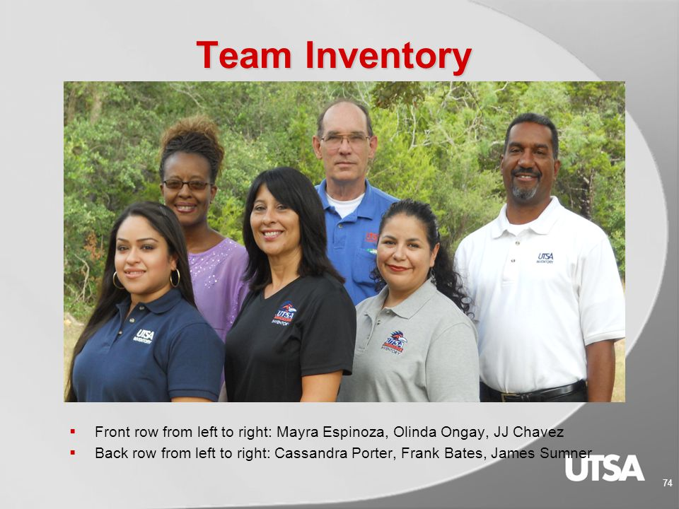 Inventory Department Main: 210-458-4844 Fax: 210-458-4845 E-mail: cporter@utsa.educporter@utsa.edu Website: www.utsa.edu/inventory/www.utsa.edu/inventory/ 73 How to Contact Us: If you'd like to contact a staff member, see the Inventory Department staff webpage at: http://www.utsa.edu/inventory/contact%20us.htm