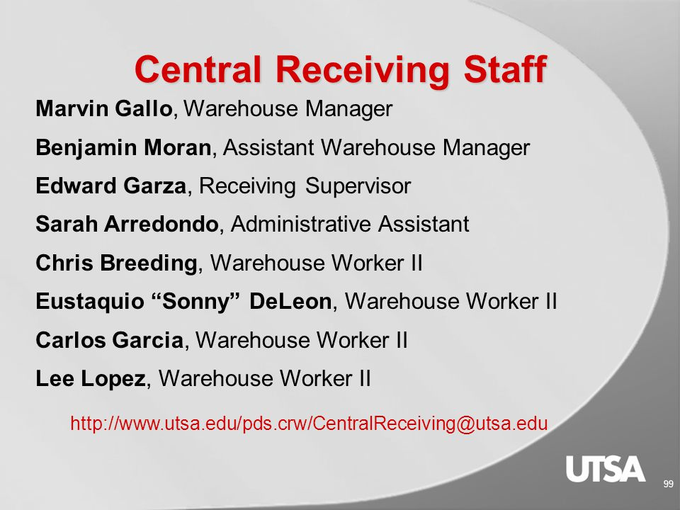 98 Central Receiving Staff Back Row: Ben, Ed, Chris, Lee and Marvin Front Row: Sonny, Carlos, and Sarah