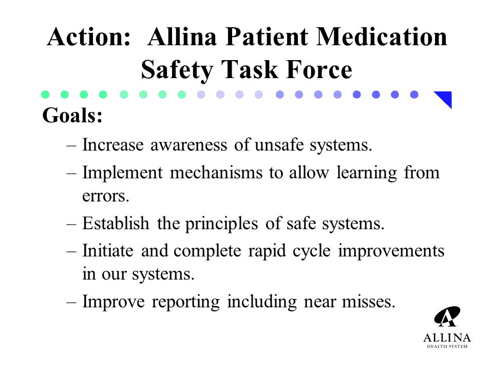 Action: Allina Patient Medication Safety Task Force Goals: –Increase awareness of unsafe systems.