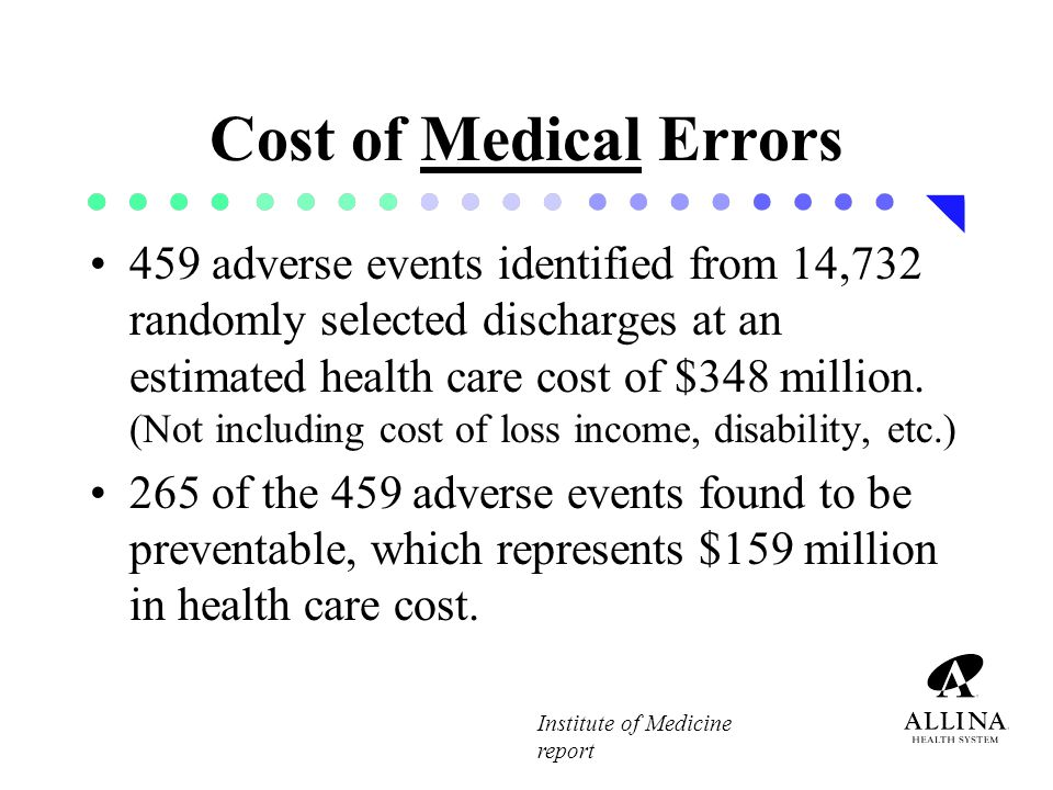 Cost of Medication Errors Most do not result in harm but those that do are costly.